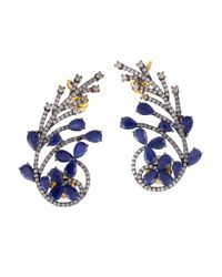 Socheec - Blue Sapphire And Diamond Ear Cuff Earrings - Lyst