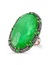 Anne Sisteron - Green 14kt Rose Gold Tsavorite Garnet Diamond Cocktail Ring - Lyst