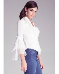 Bebe - White Flounce Sleeve & Lace Top - Lyst