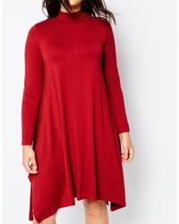 ASOS | Black Curve High Neck Swing Dress With Hanky Hem | Lyst