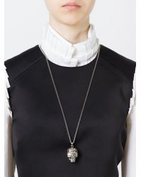 Alexander McQueen | Metallic Poppy Skull Pendant Necklace | Lyst