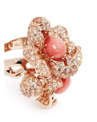 Anabela Chan - Pink 'blossom Coral' Diamond Pavé 18k Rose Gold Flower Ring - Lyst
