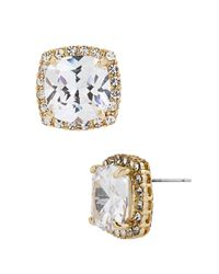 Betsey Johnson Metallic Square Goldtone And Cubic Zirconia Stud Earrings