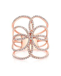 Anne Sisteron | Pink 14kt Rose Gold Diamond Butterfly Ring | Lyst