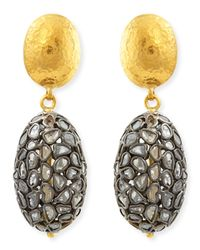 Gurhan - Metallic Bold Pastiche Oval Drop Earrings With Diamond Slices - Lyst