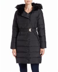 Tahari | Black Roma Faux Fur-trimmed Quilted Coat | Lyst