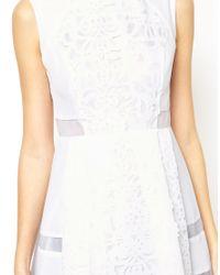 ASOS - White Skater Dress with Laser Cut Detail - Lyst