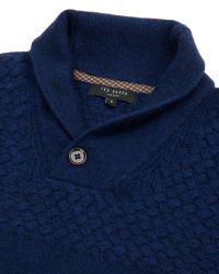 Ted Baker | Blue Shawl Neck Knit Jumper for Men | Lyst