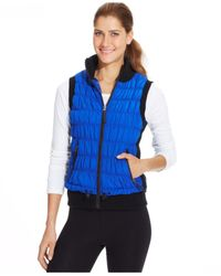 Calvin Klein Blue Performance Ribbed-Knit Quilted Puffer Vest