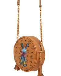 MCM Brown Rabbit Printed Faux Leather Shoulder Bag