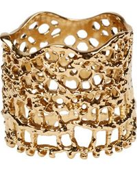 Aurelie Bidermann - Metallic Gold Laser Cut Vintage Lace Ring - Lyst