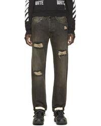 Off-White c/o Virgil Abloh | Black Distressed Jeans for Men | Lyst
