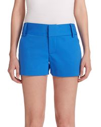 Alice + Olivia | Blue Cady Cotton Sateen Shorts | Lyst