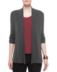 Eileen Fisher | Gray Merino Rib-mix Shaped Cardigan | Lyst