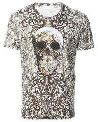 Alexander McQueen White Baroque Skull Print Tshirt for men