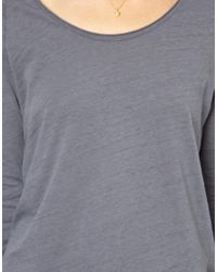 American Vintage - Gray Washed Raglan Tee with Raw Edge Detail - Lyst