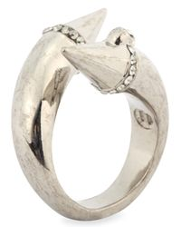 Alexander McQueen - Metallic Silver Plated Twisted Spike Ring - Lyst