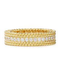Roberto Coin | Metallic Princess 18k Gold Petite Ring With Diamonds | Lyst