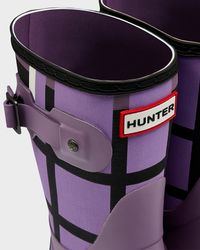 HUNTER Purple Women'S Original Short Tartan Rain Boots