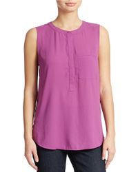 NYDJ - Purple Sleeveless Pocket Blouse - Lyst
