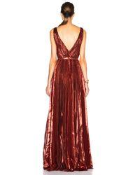 J. Mendel Orange Lurex Chiffon Deep V Neck Gown