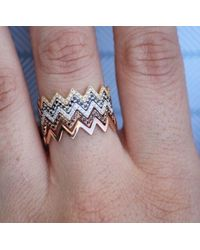Anne Sisteron | 14kt White Gold Diamond Zig Zag Stacking Ring | Lyst