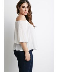 d5445efe5106 Lyst - Forever 21 Plus Size Self-tie Open-shoulder Top in White