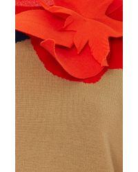 Delpozo Blue Flower Applique Merino Wool Pullover
