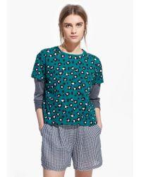 Mango Green Leopard Print T-Shirt