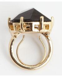 Kenneth Jay Lane - Goldtone Black Crystal Cocktail Ring - Lyst