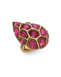 Oscar de la Renta | Pink Bold Swarovski Crystal Cocktail Ring/goldtone | Lyst