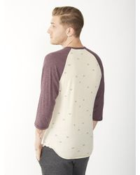 Alternative Apparel - Purple Basic Printed Raglan Henley Shirt for Men - Lyst