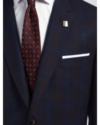 Ted Baker Blue Modbox Prince Of Wales Check Modern Fit Suit Jacket for men