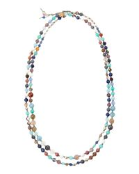 Nakamol - Knotted Long Mixedstone Necklace Bluegraymulti - Lyst