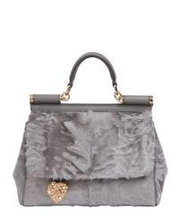 Dolce & Gabbana - Gray Mamma Xiangao Fur Top Handle Bag - Lyst
