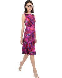 Erdem | Pink Printed Silk Satin Dress | Lyst