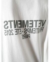Vetements White Back Print Oversized T-Shirt