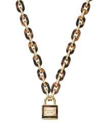 Michael Kors Brown Tortoiseshell Link Padlock Pendant Necklace
