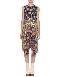 Marni - Black Floral-print Asymmetric Ruffle-hem Dress - Lyst