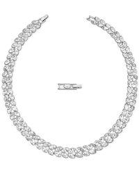 Swarovski | Metallic Silver-tone Navette Crystal Collar Necklace | Lyst