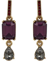 Oscar de la Renta | Purple Octagon And Pear Stone Drop Earrings - For Women | Lyst