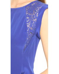 Rebecca Taylor Blue Inset Lace Top Royal