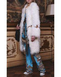 Roberto Cavalli | Blue Day Dream Printed High Rise Straight Leg Pants | Lyst