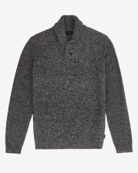 Ted Baker | Gray Basket Stitch Shawl Neck Sweater for Men | Lyst