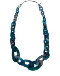 Monies | Blue Chain Link Necklace | Lyst