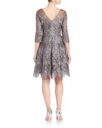 Kay Unger Gray Embroidered Illusion Dress