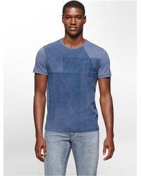 Calvin Klein | Blue Jeans Slim Fit Grid Textured Logo Print T-shirt for Men | Lyst