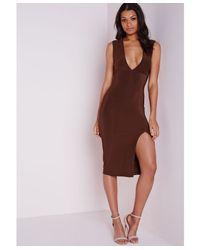 Missguided Slinky Sleeveless Side Split Midi Dress Chocolate Brown