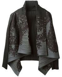 Pleats Please Issey Miyake Black Pleated Cardigan