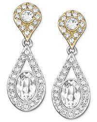 Swarovski | Metallic Two-tone Crystal Double Teardrop Earrings | Lyst